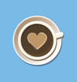 cup espresso with latte art top view vector image