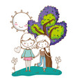cute couple girls friends colorful nature vector image