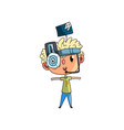 cute scientist boy character working on science vector image vector image