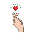cute sign mini heart hand vector image vector image