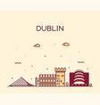 dublin skyline ireland linear style city vector image