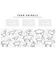 Farm animals silhouettes outline
