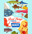 fishing sport fish and crab caught by bait vector image vector image