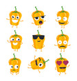 funny yellow pepper - isolated cartoon vector image vector image