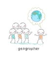 geographer tells people about the planet vector image vector image