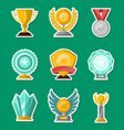 golden and glassy trophy cups and awards set vector image vector image