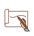 hand holding pencil drawn line on paper vector image