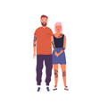 happy hipster couple posing together holding hands vector image