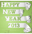 Happy New Year curled strips on grunge paper vector image vector image