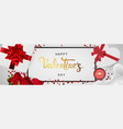happy valentines day realistic horizontal banner vector image