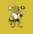 hipster dog cartoon t shirt design vector image vector image