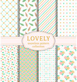 lovely seamless patterns set vector image vector image