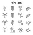 palm tree coconut trees icon set in thin line vector image