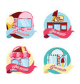 set ice cream shops facades vector image
