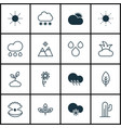 set of 16 ecology icons includes snowstorm bush vector image vector image