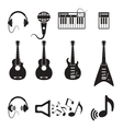 Set of black music icons vector image vector image