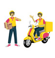Set worker courier service and scooter