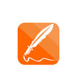 simple feather ink pen application icon and logo vector image