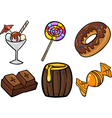 sweet food objects cartoon set vector image