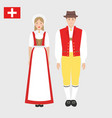 swiss in national costume with a flag vector image