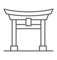 torii gate thin line icon japan and architecture vector image vector image