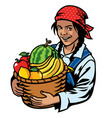 women farmer and basket of fruits vector image