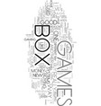 x box games text word cloud concept vector image vector image