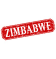 Zimbabwe red square grunge retro style sign vector image vector image