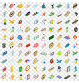 100 victory icons set isometric 3d style vector image vector image