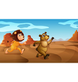 A lion and a bear running vector image vector image
