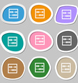 Abacus symbols Multicolored paper stickers vector image