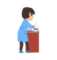 back view male chemist scientist with lab vector image vector image