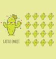 cactus emoji sticker icon set vector image
