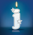 Candle letter j with flame vector image