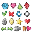 Cartoon icons for game user interface vector image