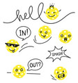 character pickle ball with speech bubbles vector image vector image