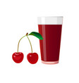 cherry and glass of juice vector image