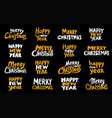 christmas lettering collection vector image vector image