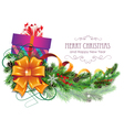 Christmas present with bow and fir branch vector image vector image