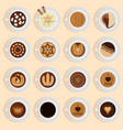coffe top view realistic drink different vector image