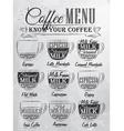Coffee Menu cup coal vector image vector image