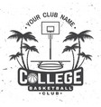 college basketball club badge vector image vector image