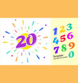colored cartoon numbers set 1-9 digit vector image vector image