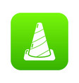 cone road icon green vector image