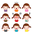 Cute girl faces showing different emotions vector image vector image
