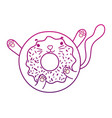 degraded outline kawaii nice cat donut snack vector image vector image