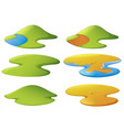 different shapes of mountains and beaches vector image vector image