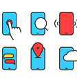 Different smartphone pictograms Lineart design vector image vector image
