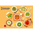 Dinner icon with dishes of italian german cuisine vector image vector image
