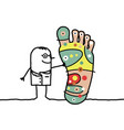doctor with big foot and and reflexology vector image